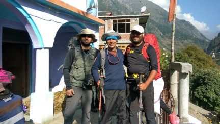 (Left to right): Abhishek Kaushal, Prem Chand Negi, and Ameen Shaikh at the Temple in Kafnu.