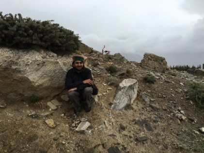 Anshu bhaya (Abhinav Kaushal) enjoying the rain near the Big Prayer Wheel at Nako