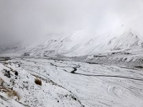 View of the Spiti river as snowfall covers the nearby mountains; Photo: Abhinav Kaushal