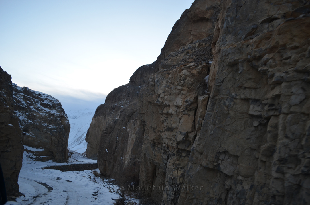The road going down to Kaza from Langza through a narrow passage.
