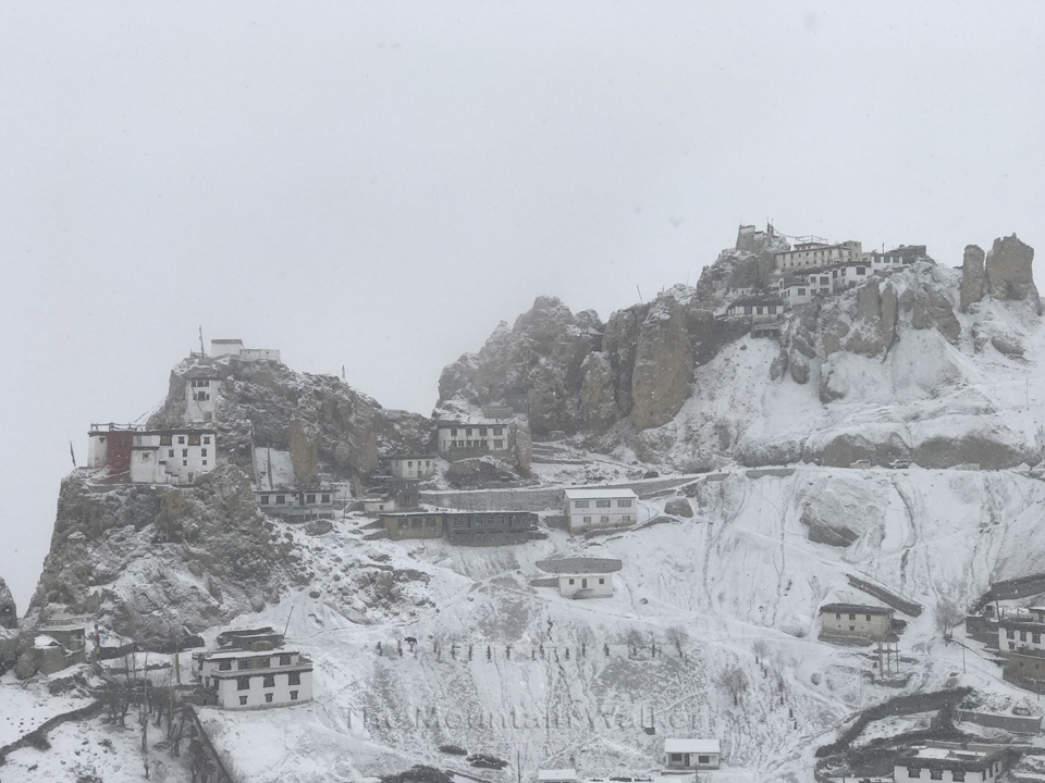 A view of the Dhankar Monastery upon reaching.