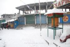 The Kaza market during the snowfall.