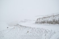 The road between Kaza and Lidang completely engulfed by snow and fog