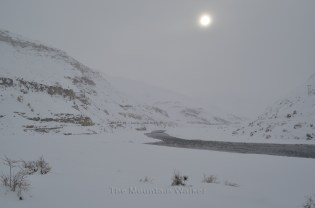 The view of Spiti river with the sun looking like the moon; Photo: Abhinav Kaushal.
