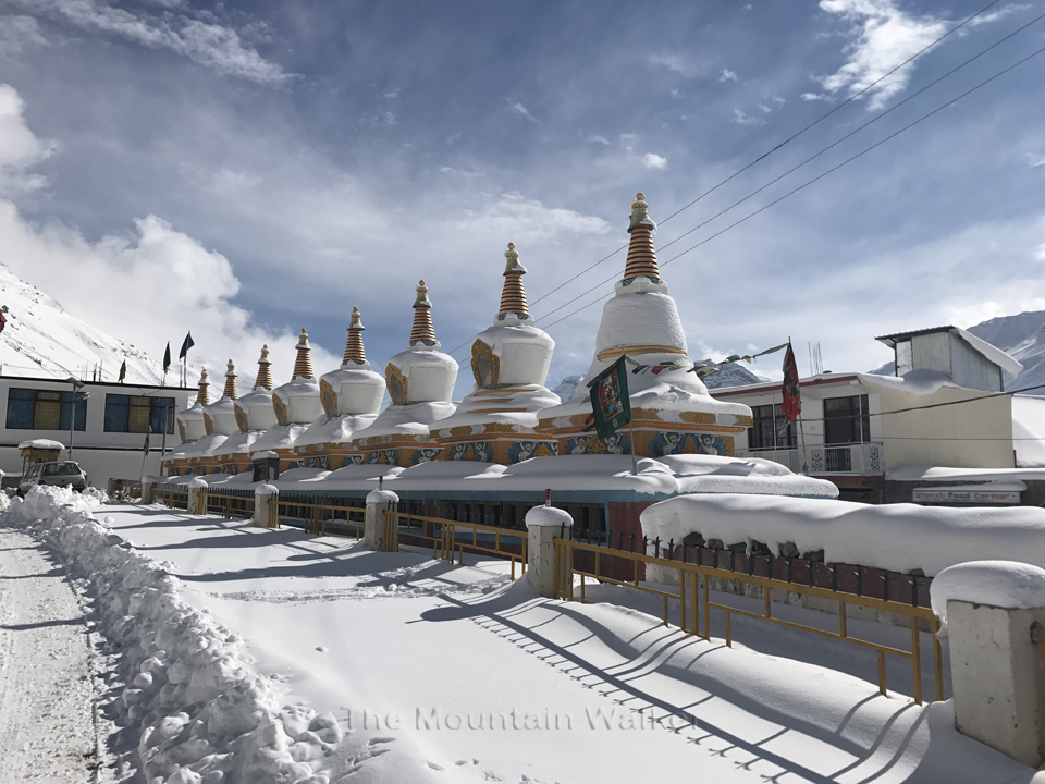 The 8 Stupas near Kaza Monastery, Lahaul and Spiti, Himachal Pradesh, India.
