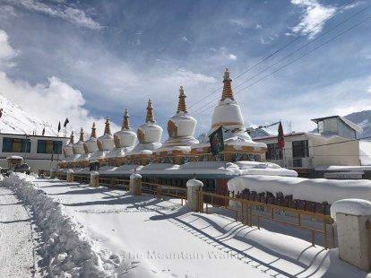 The 8 stupas built in front of the Kaza Monastery.