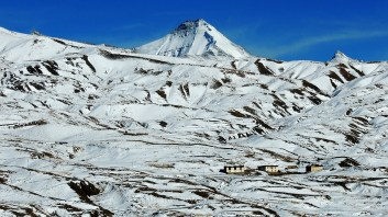 Chachochang Peak towering behind Gettey village in Spiti; Photo: Abhishek Kaushal