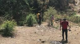 The team walking past the stream on our way to Geeli Mitti; Photo: Abhinav Kaushal