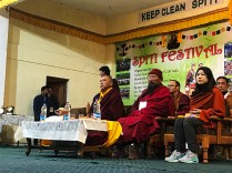 From Left: H. E. Yomed Tilku Rinpoche, the Chief Guest on the first day of Spiti Festival 2017, with Guest of Honour Teng Lhundrub Tse and Meme Nawang Tashi; Photo: Abhinav Kaushal