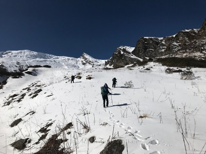 Day 3 - Into the snow, and it's increasing with every step; Photo: Swarjit Samajpati
