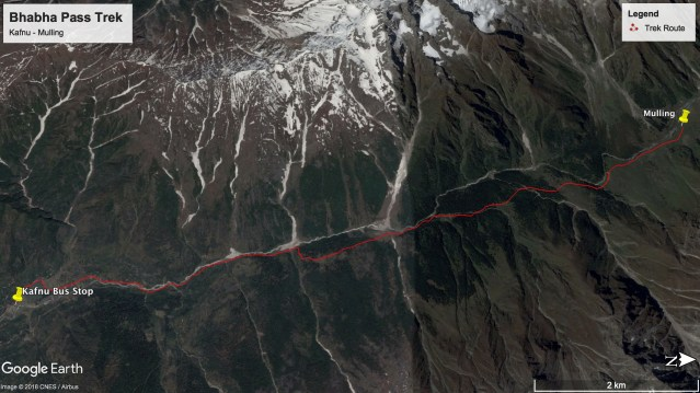 Bhabha Pass Trek - Route from Kafnu to Mulling