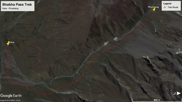 Bhabha Pass Trek - Route from Kara to Phustrang