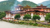 "Pungtang Dewa Chhenbi Phodrang (meaning ""The Palace of Great Happiness or Bliss"") or the Punakha Dzong located on the confluence of Mochu and Pochu rivers in Punakha; Photo: Swarjit Samajpati"
