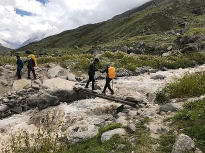 Across streams during the Pin Parvati Pass Trek; Photo: Swarjit Samajpati