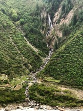 A high waterfall joining Supin River near the trail to Ruinsara Lake (Base Camp for Black Peak); Photo: Swarjit Samajpati
