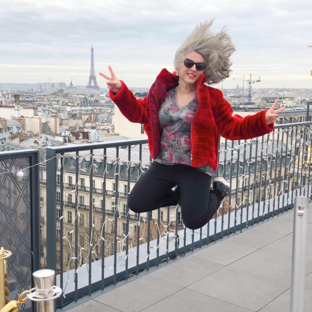 Idée look, Fashion, 50 ans, quinqua, mode, tendances, Teambeautesmajuscules, Aller plus haut, printemps Haussmann, vue sur tout paris,