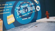Closeup of the wall advertising the Tower of Terror
