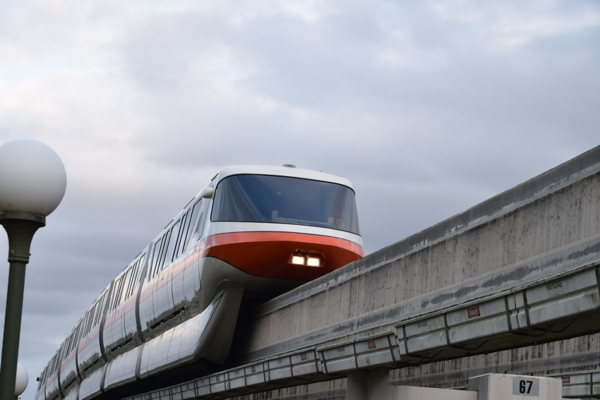 Monorail on track outside of Magic Kingdom