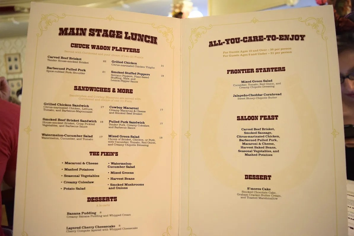 Diamond Horseshoe Reveue Lunch Menu