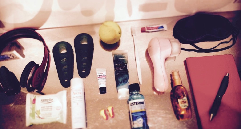 travel-sized fitness and well-being items