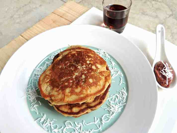 Coconut Pancakes with Fig and Raspberry Topping