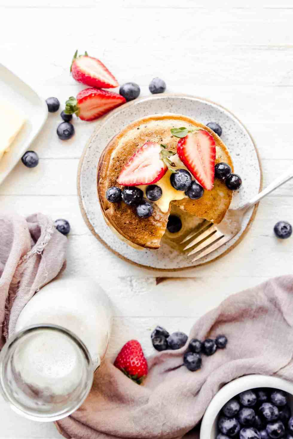 overhead pancakes shot with berries