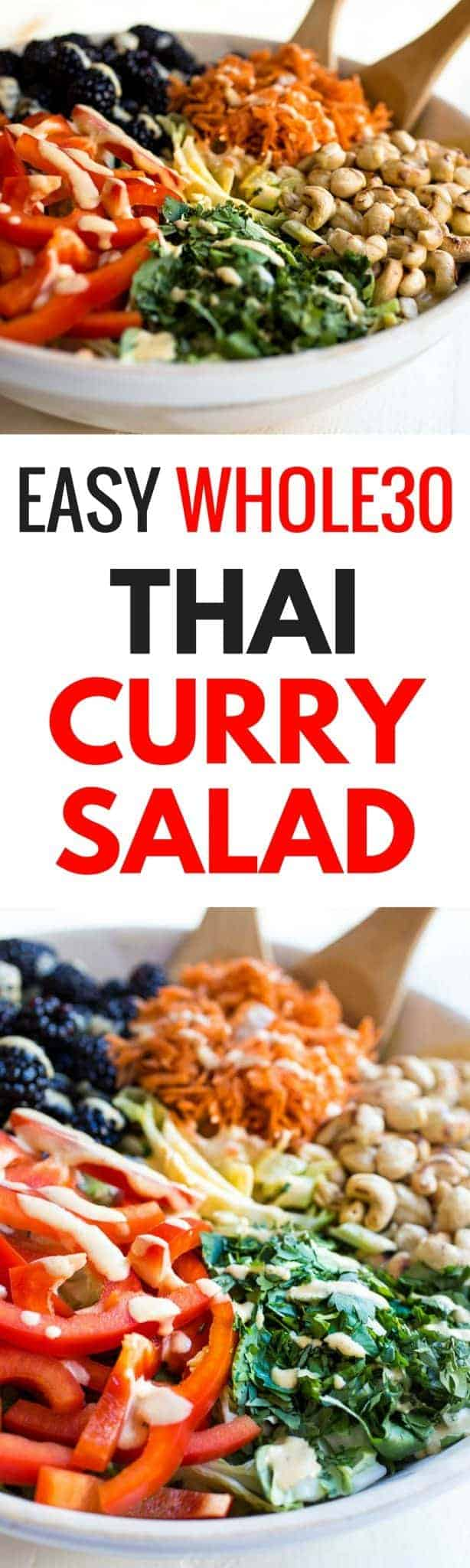 An easy recipe for a delicious, paleo, Whole30 compliant & vegan Thai Curry Salad that will leave you feeling full & satisfied. Whole30 salad recipes. Whole30 dinner recipes. Easy Whole30 recipes can be found here. Quick, easy, healthy, dairy free Thai Curry Salad!