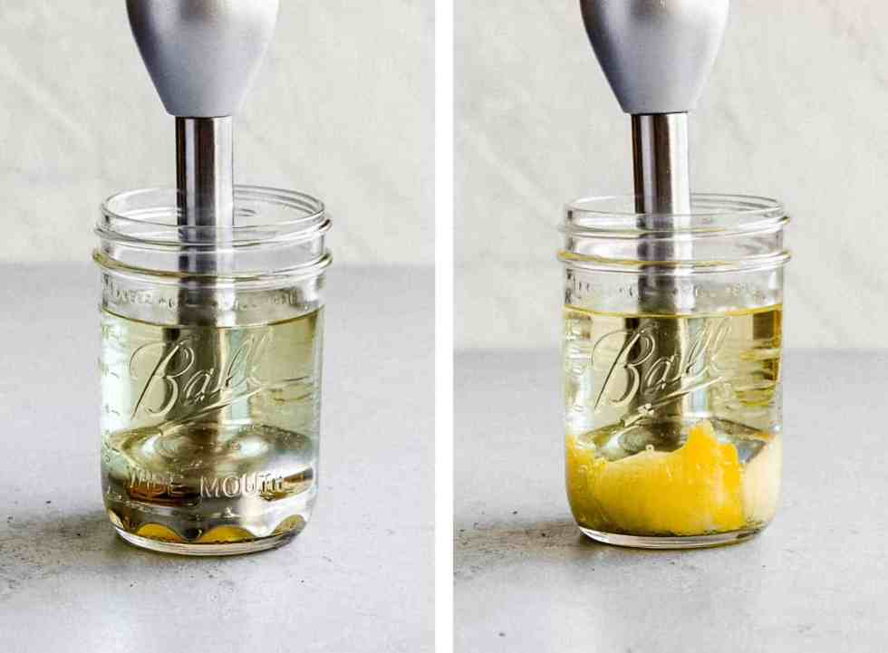 immersion blender in a glass jar making homemade paleo mayo