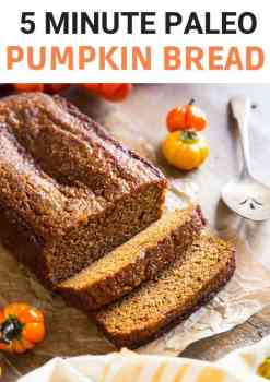 An easy paleo pumpkin bread that is prepared in one bowl in 5 minutes. Healthy, quick and easy paleo pumpkin dessert recipe for the whole family. #paleo #pumpkinbread #glutenfreedesserts