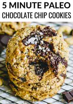 A quick and easy 5 minute paleo chocolate chip cookies recipe that is crunchy, chewy and so tasty. These paleo cookies are gluten free, grain free, dairy free and refined sugar free! #paleocookies #chocolate #paleodessert #chocolatechipcookies
