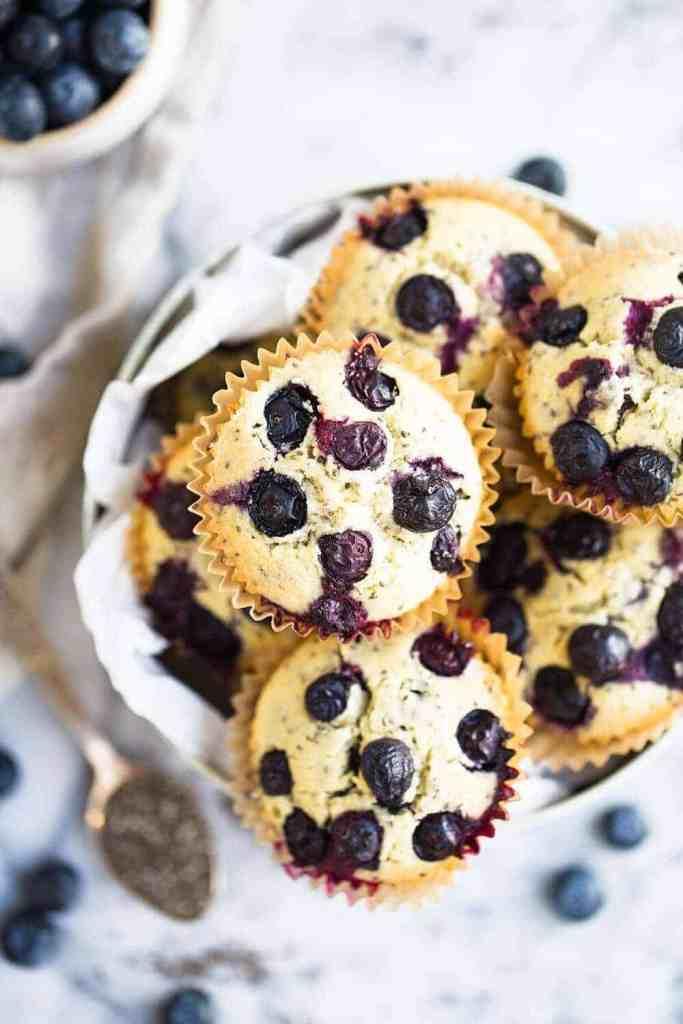 overhead shot of gluten free vegan blueberry muffins