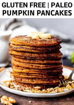 a stack of coconut flour pumpkin pancakes on a plate with butter on top