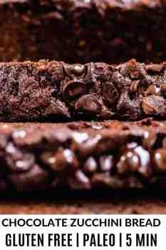 close up shot of paleo chocolate zucchini bread