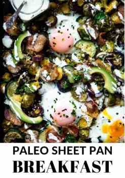 a paleo one pan breakfast on a sheet pan with eggs, avocado and vegetables!