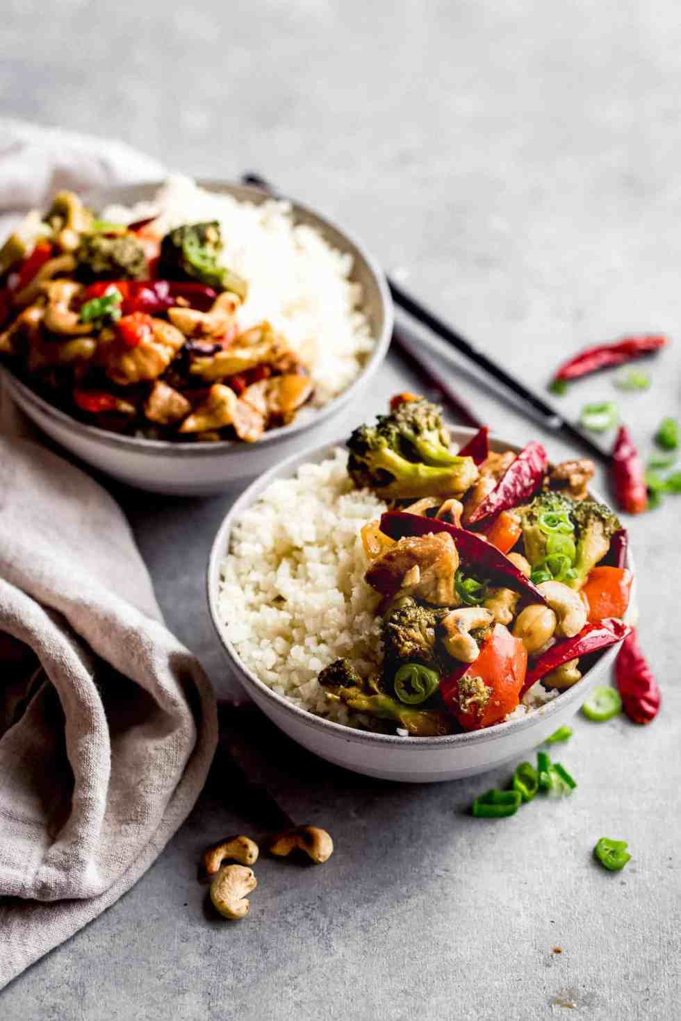 cashew chicken in two bowls