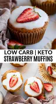 close up of keto strawberry muffins with coconut butter glaze