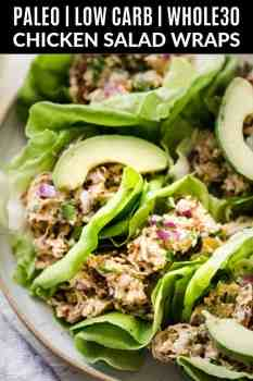 paleo chicken salad in lettuce wraps