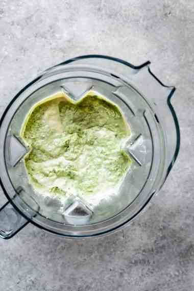 vegan spinach artichoke dip in a blender