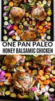 paleo chicken thighs on a sheet pan with veggies