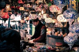 A man at a bazaar.