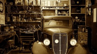 Old-timer parked in a garage