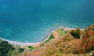 A coastal road seen from the air.