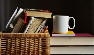 A basket with books prepared for moving to Kuwait.