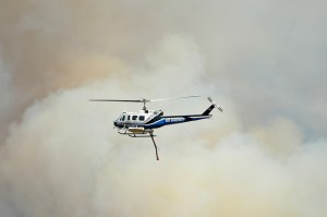 Wildfire and a helicopter.