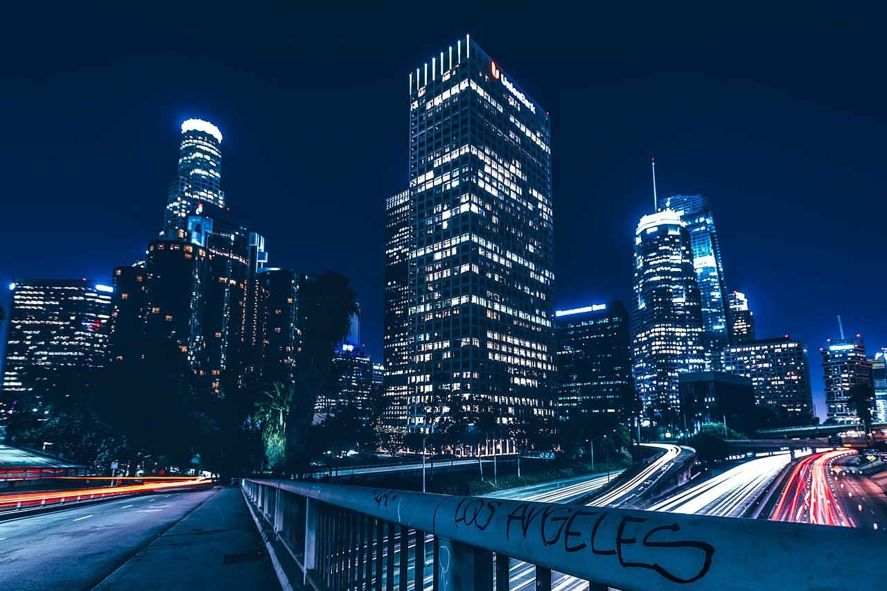 One of the LA neighborhoods at night.