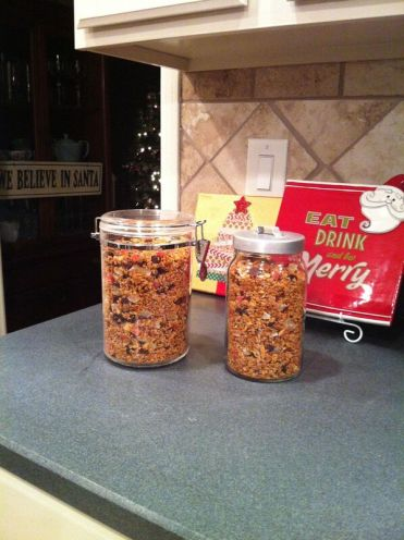 Granola in airtight containers