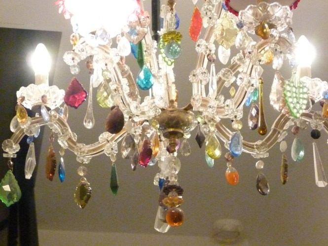 5 Arm Glass Marie Therese With Multi Coloured Drops The Vintage Intended For Chandelier