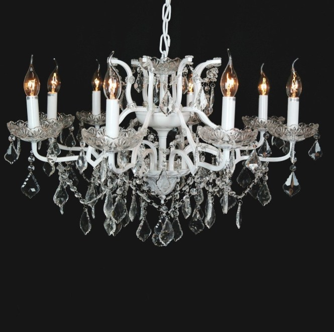 Beautiful Cut Glass French Chandelier Shallow 8 Arm White In 2