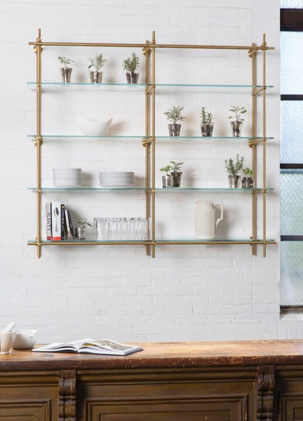 Hanging Glass Shelves Kitchen