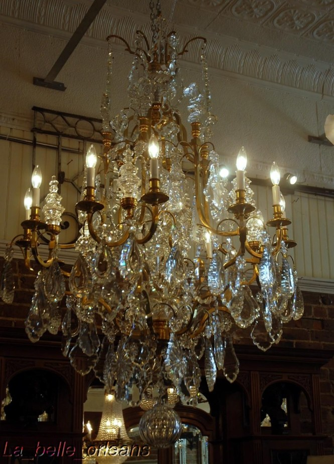 Monumental Pair French Crystal Bronze Chandeliers For With Regard To
